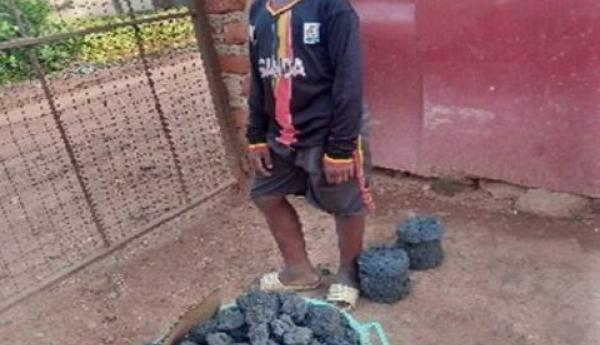 Keleti with the briquettes he made